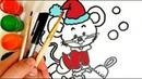 Как нарисовать Новогоднего Мышонка Детская раскраска How to draw a New Year's Mouse