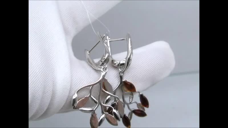 Гарнитур Мечта из российского серебра серьги кольцо подвеска с балтийским янтарём 925 Ag S140