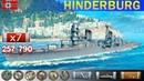 ✔ Бой на Крейсере Hindenburg X уровень Германия WoWS World of WarShips REPLAY