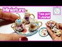 미니어쳐 티팟 셋트 만들기 예쁜 꽃그림 다이소 diy 폴리머클레이 Miniature doll teapot polymerclay tuto