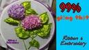 D I Y Ribbon embroidery Hydrangea flower Thêu ruy băng 3D Hoa Cẩm Tú Cầu