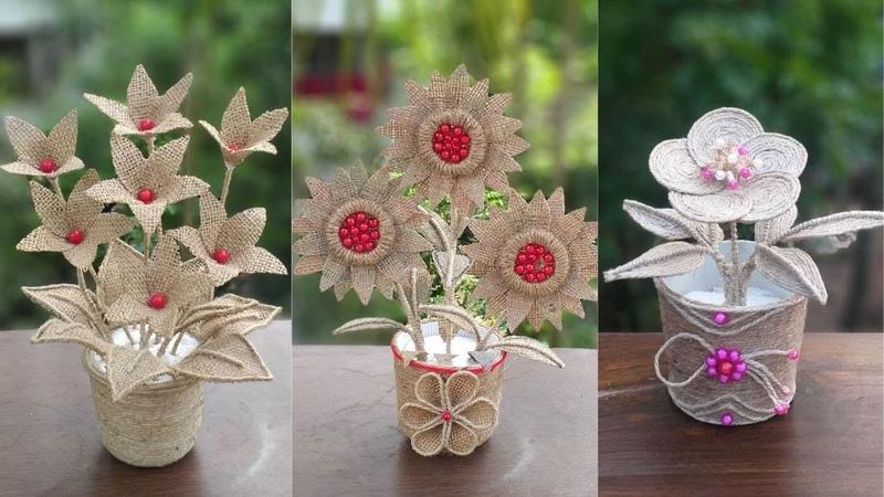 DIY 3 Jute Flower And Flower Vase For Decoration Ideas    Home Decor Jute Burlap Craft Ideas