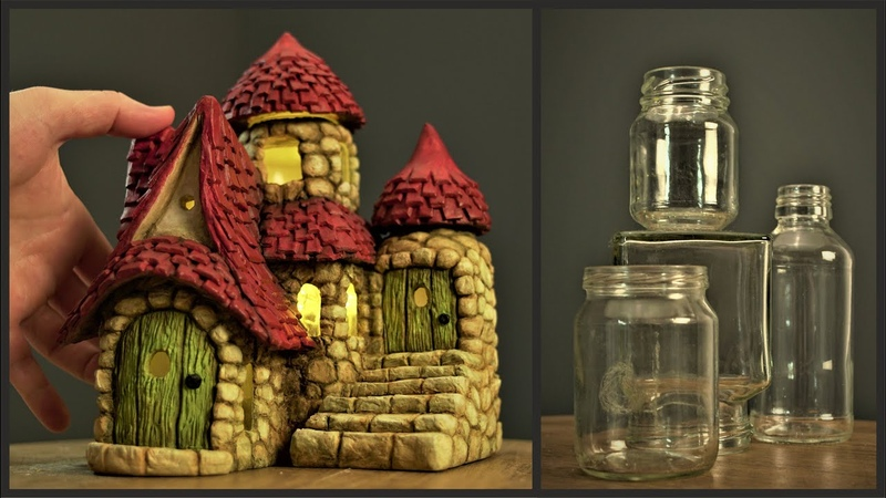 DIY Fairy Cottage Using Jars