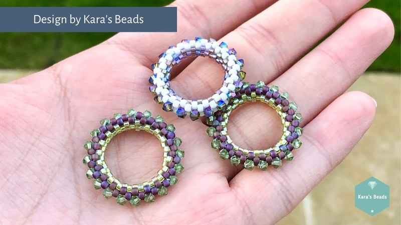 25mm Peyote Circle Charm Tutorial Beaded Component Interchangeable Earrings Charm DIY Crafts