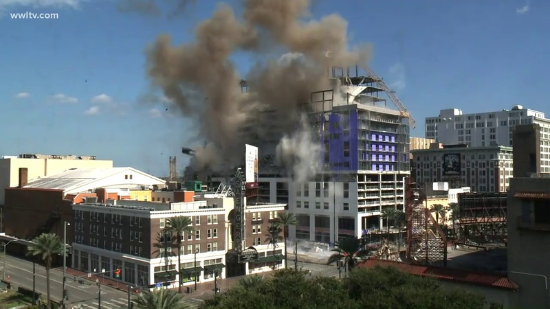 Crane implosion at Hard Rock Hotel collapse site in New Orleans