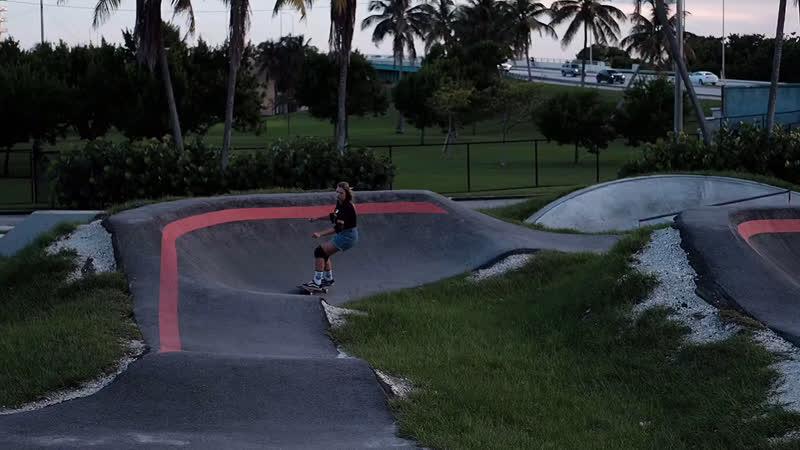 Poly on a skateboard in Miami, Florida