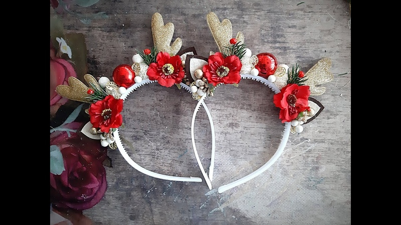 НОВОГОДНИЙ ободок Оленя МК DIY hoop Deer horns New Year