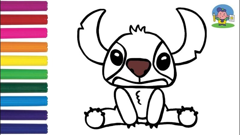 Как нарисовать СТИЧА Раскраска СТИЧ малышам How to Draw STITCH from Disney's Lilo and Stitch
