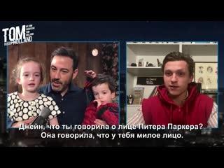 Русские субтитры  Том Холланд на шоу Джимми Киммел в прямом эфире | .