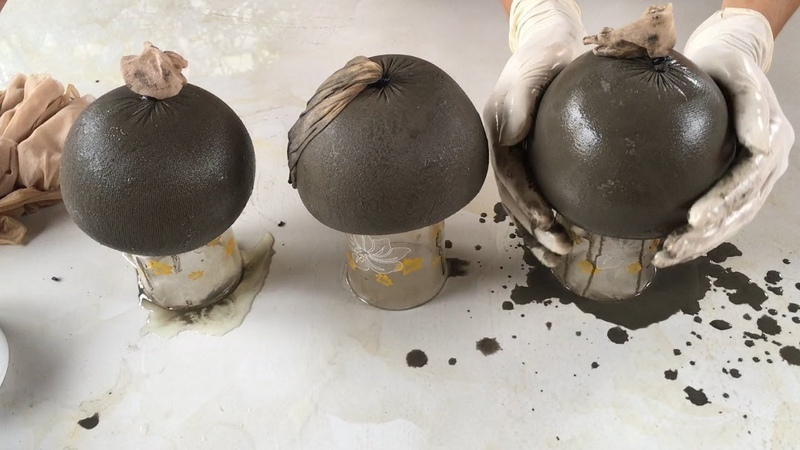 Project Cement craft Ideas Make Mushrooms Cement With Foot Socks Of Wife Garden Decoration