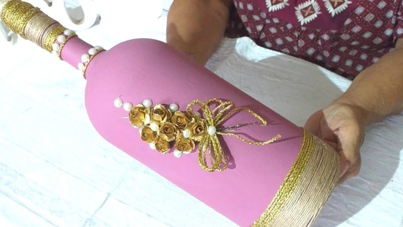 Garrafão Rosa com Flores Douradas! Reciclando e Decorando!
