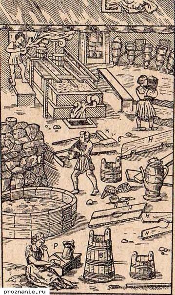 Солеварня. Гравюра из книги Г. Агриколы О металлах. 1556 г.
