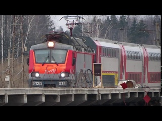 ЭД4М-0471 ЦППК, электровоз ЭП20-038 с поездом№740А Брянск-Москва станция Крёкшино