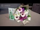 Авторский букет из нежно розовых гербер и хризантем в дизайнерской упаковке