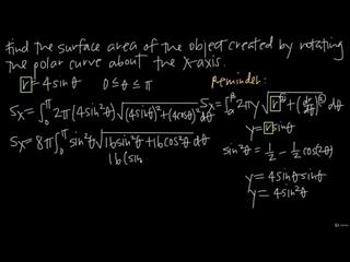 [30 Polar & Parametric - Calculus with polar curves] 285 Surface area of revolution of a polar curve