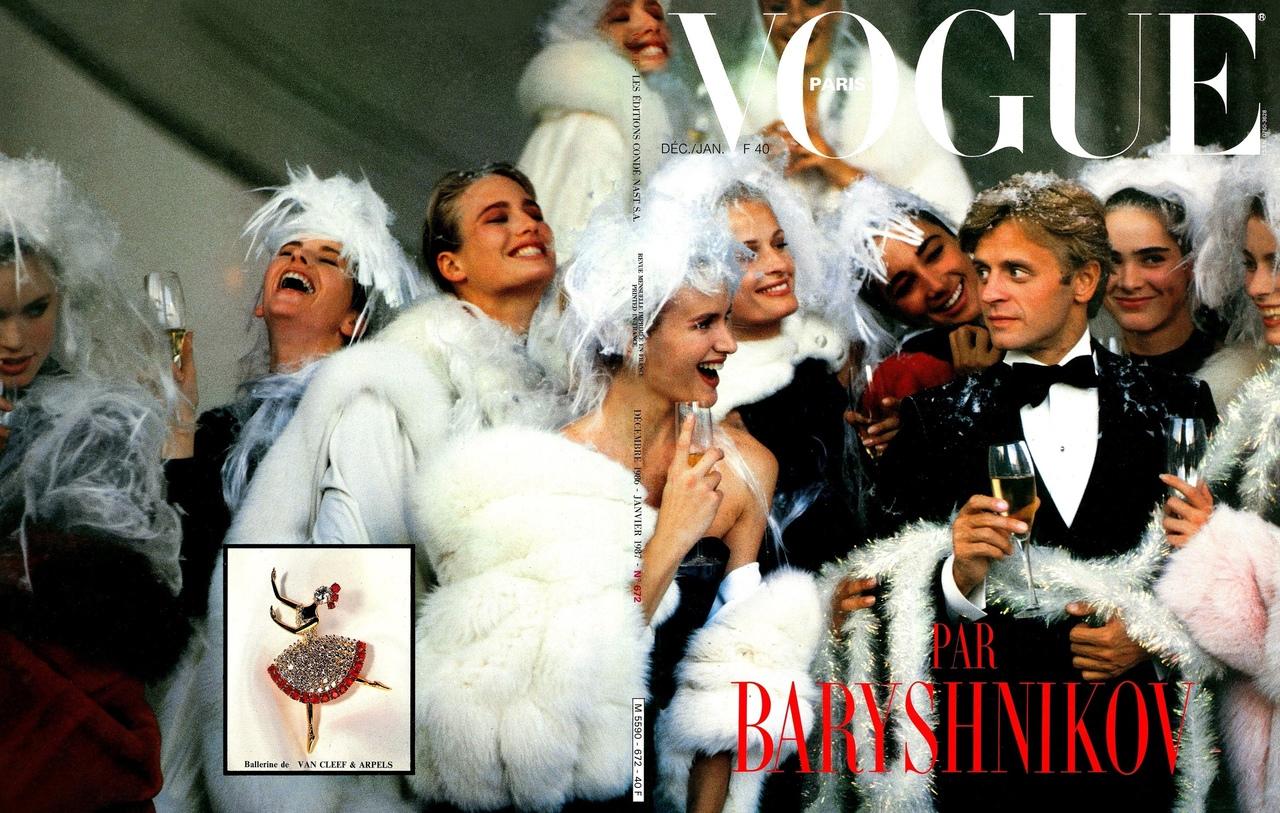 Vogue Paris N° 672 December 1986 /January 1987 by Arthur Elgort: Mikhail Baryshnikov, Hunter Reno & ballet dancers