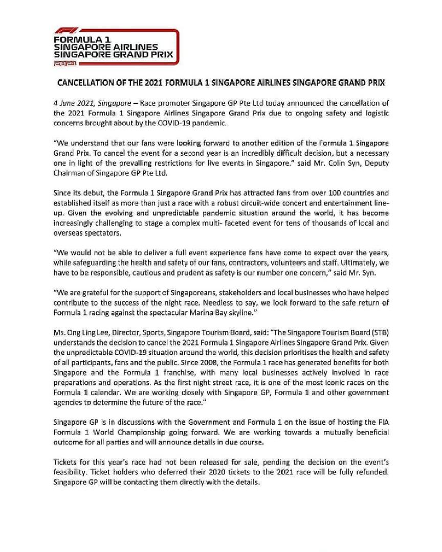 Singapore GP 2021 cancelled