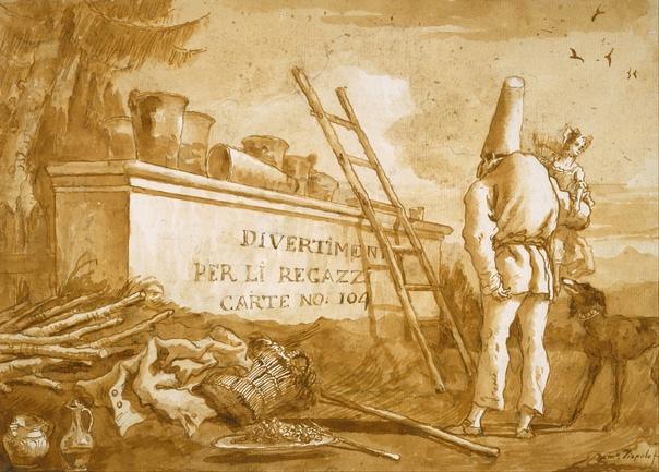 «Обложка серии рисунков о Пульчинелле», Джованни Доменико Тьеполо