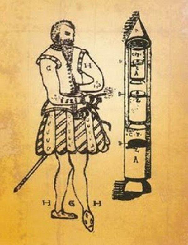 Ракеты XVI века: пилотируемые, многоступенчатые и с соплами, изображение №20