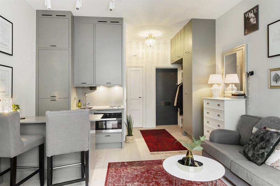 Красивый интерьер скандинавской квартиры-студии 29 м.