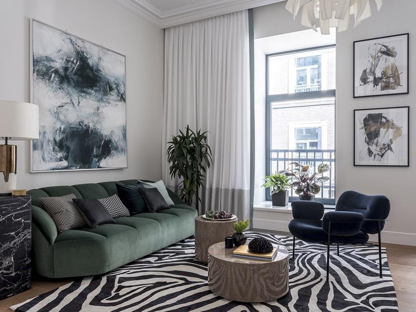 Дизайн квартиры открытой планировки 36 м в центре Москвы.