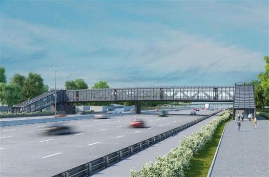 Начато строительство надземного пешеходного перехода в по...