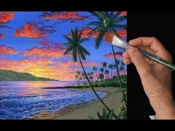 Video Rapido Pintar Atardecer Playa Palmeras Nubes Montana acrilicos tela artista cuadro
