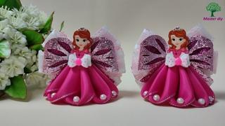 Бантики с принцессами София в розовом\Master diy МК канзаши