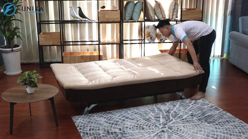 Sofa giường lật lưng 908 bằng vải nỉ có thể tháo giặt