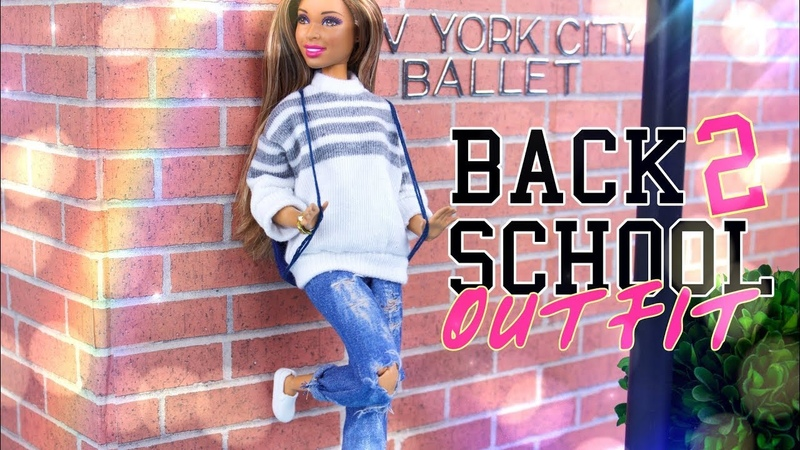 DIY How to Make Doll Distressed Jeans and Stylish Sweater BACK TO SCHOOL Outfit