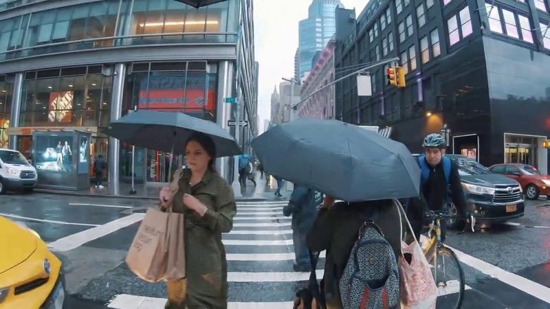 Midtown Manhattan NYC Rain Walk 59th Street to Port Authority Bus Terminal Area ASMR