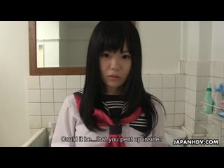 Japanese schoolgirl, Sayaka Aishiro blowjob and cumshot