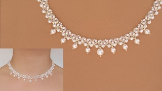 Classic White Pearl and Crystal Beaded Necklace. DIY Wedding Jewelry. Beading Tutorial 白珍珠串珠项链