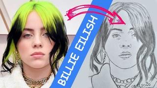 Как нарисовать Билли Айлиш (BILLIE EILISH) нарисованный карандашом