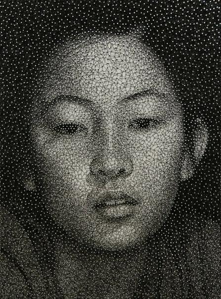Куми Ямашита (англ umi Yamashita, р. 1968) современная американская художница и дизайнер, родившаяся в Японии. Интересно, что для всего изображения художник использует всего одну нить, которая